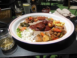 Ethiopian Meat and Vegetable Sharing Dish